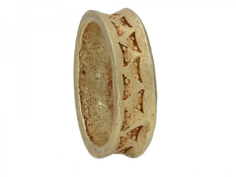 front Viking yellow gold stamped  ring hatton garden berganza