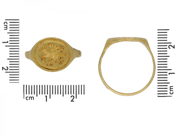front Medieval signet eagle ring hatton garden berganza