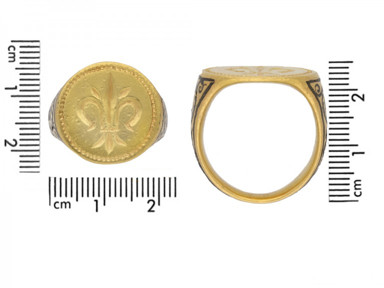 front ancient gold fleur de lis ring hatton garden berganza