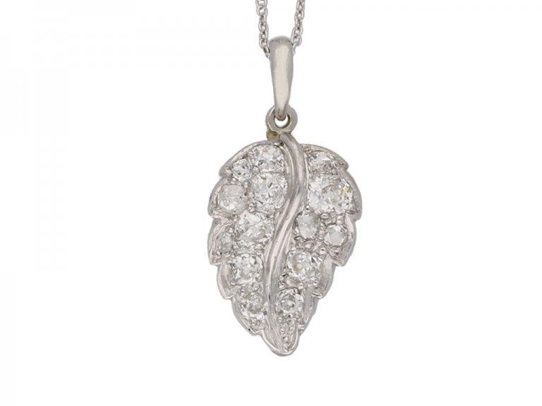 vintage diamond set leaf pendant hatton garden berganza