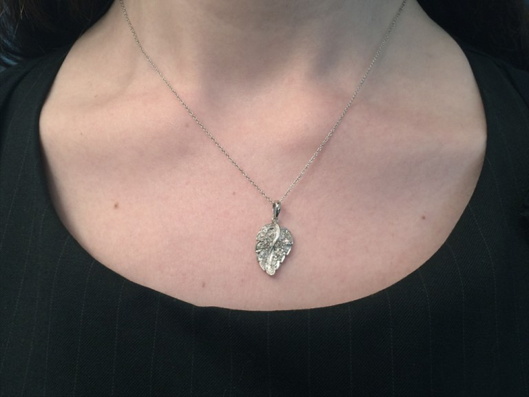 Vintage diamond set leaf pendant berganza hatton garden