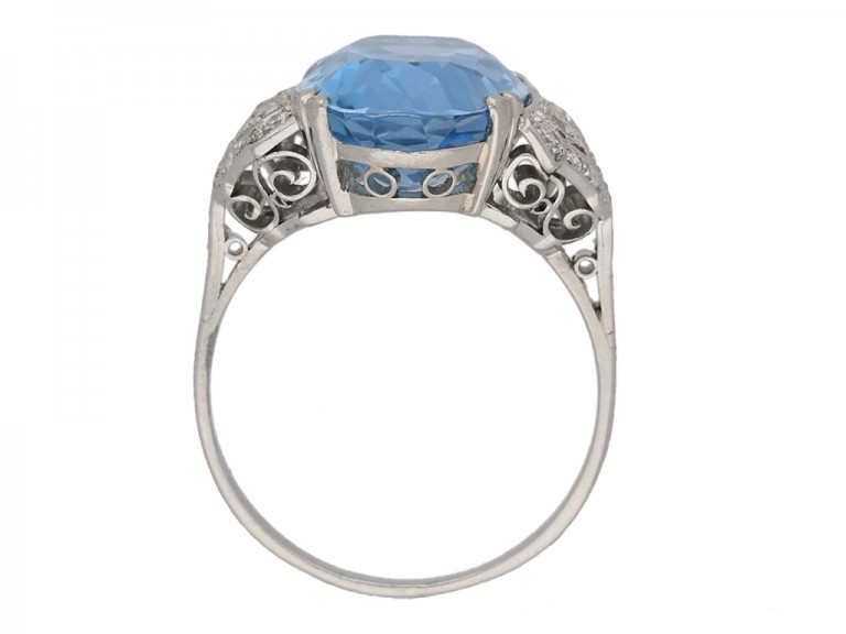 front art deco aquamarine diamond ring berganza hatton garden