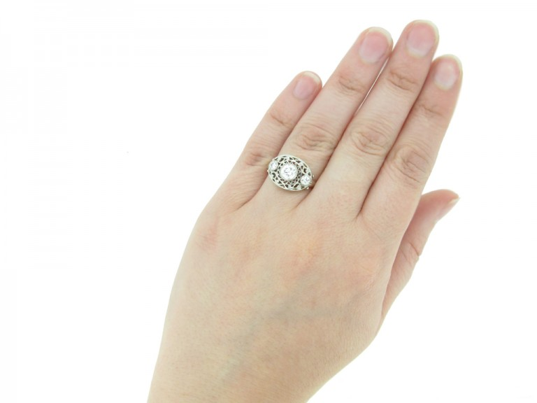 front antique diamond three stone ring hatton garden berganza