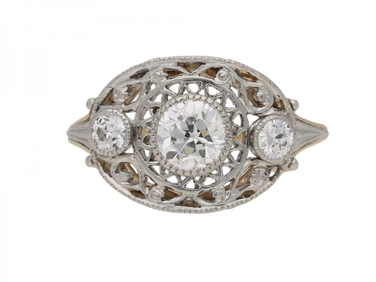 antique diamond three stone ring hatton garden berganza