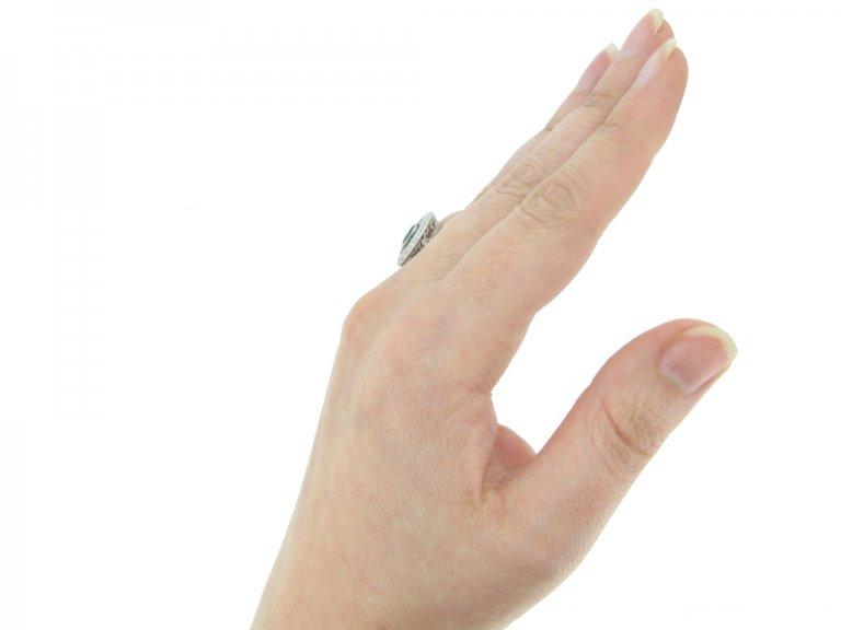 frotn antique diamond sapphire cluster ring hatton garden berganza