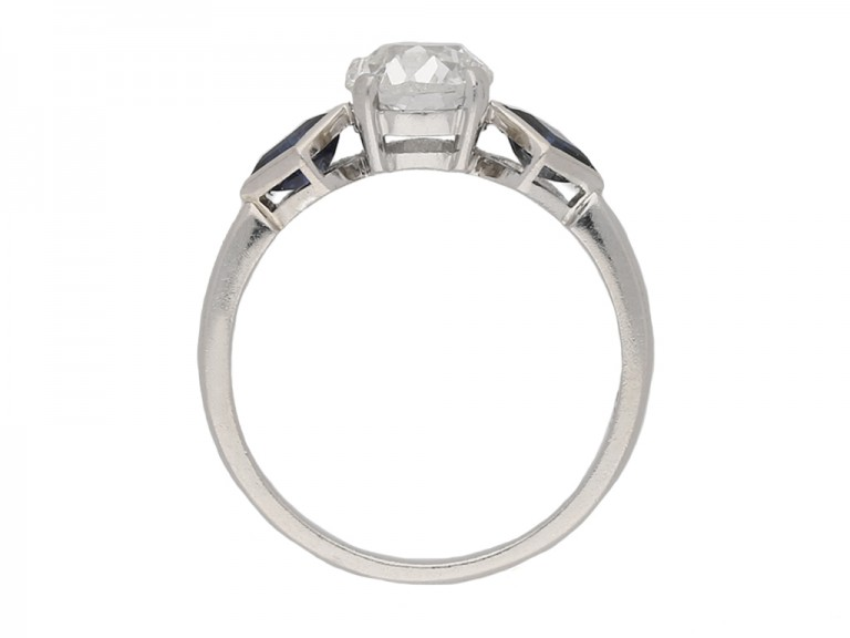 front vintage diamond sapphire ring hatton garden berganza