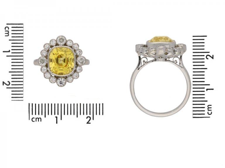 front  vintage yellow sapphire diamond ring hatton garden berganza