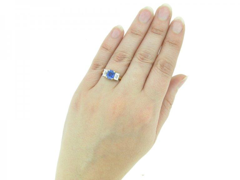 Vintage sapphire and diamond three stone ring, English, circa 1950.