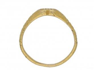front Medieval iconographic gold ring berganza hatton garden