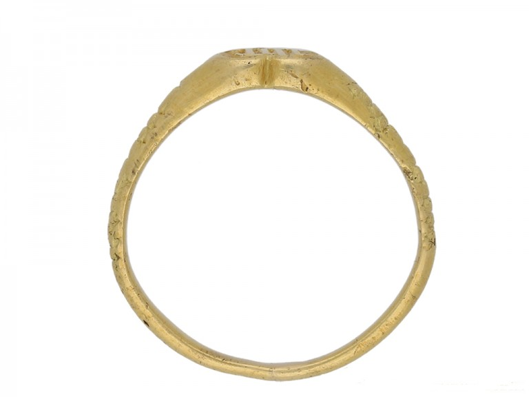 front Medieval iconographic gold ring berganza hatton garden
