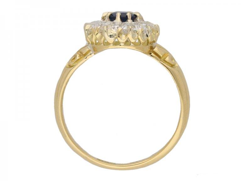 front antique diamond sapphire cluster ring hatton garden berganza
