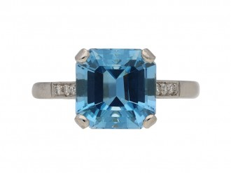 vintage diamond aquamarine ring berganza hatton garden