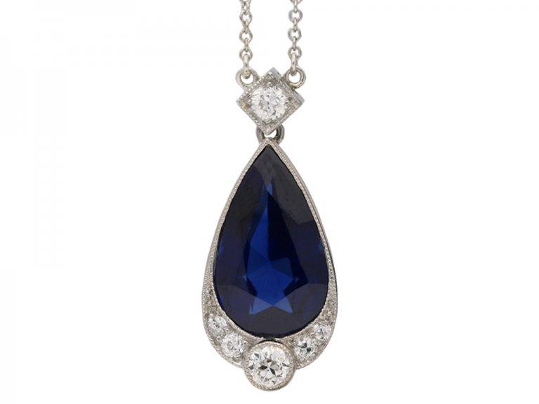Art Deco sapphire diamond pendant berganza hatton garden