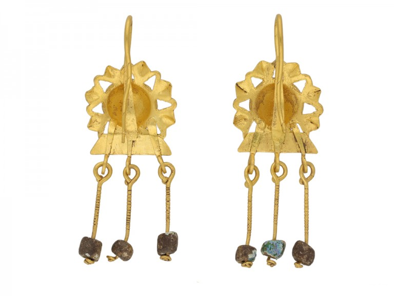Ancient Roman gold sunburst earrings berganza hatton garden