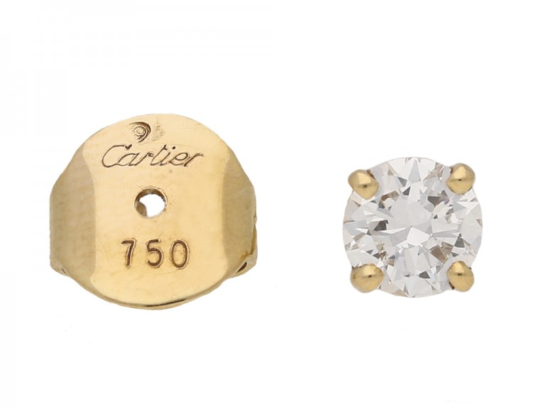 Vintage Cartier diamond stud earrings berganza hatton garden