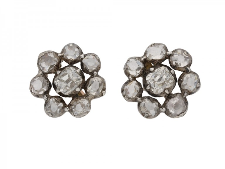 Georgian diamond cluster earrings berganza hatton garden