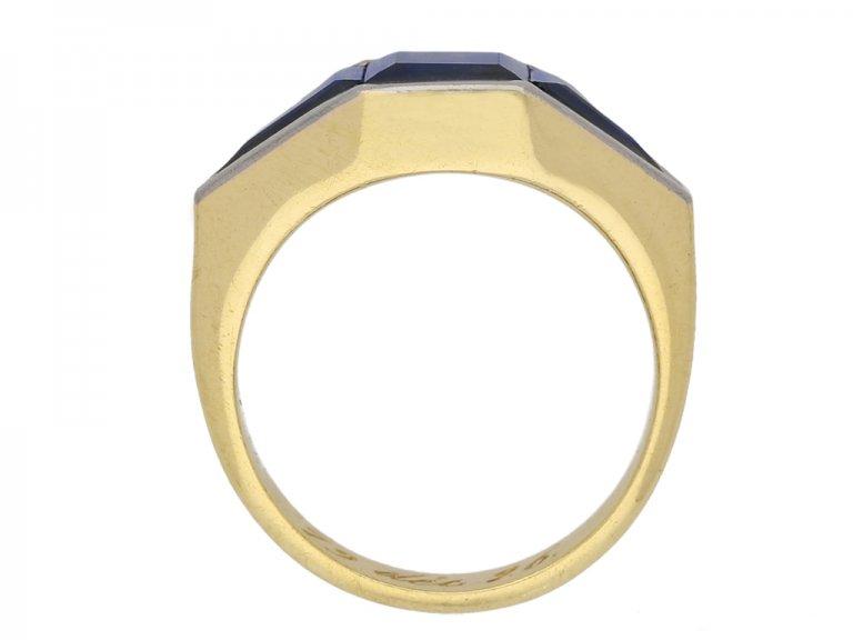 front art deco sapphire ring berganza hatton garden