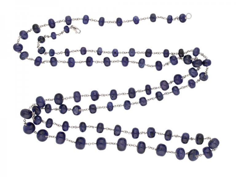 sapphire bead necklace berganza hatton garden