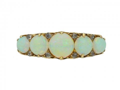 antique opal diamond five stone ring hatton garden berganza