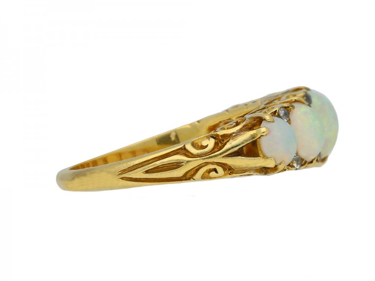 antique opal diamond five stone ring hatton garden berganza