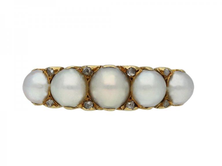 antique pearl diamond carved ring berganza hatton garden