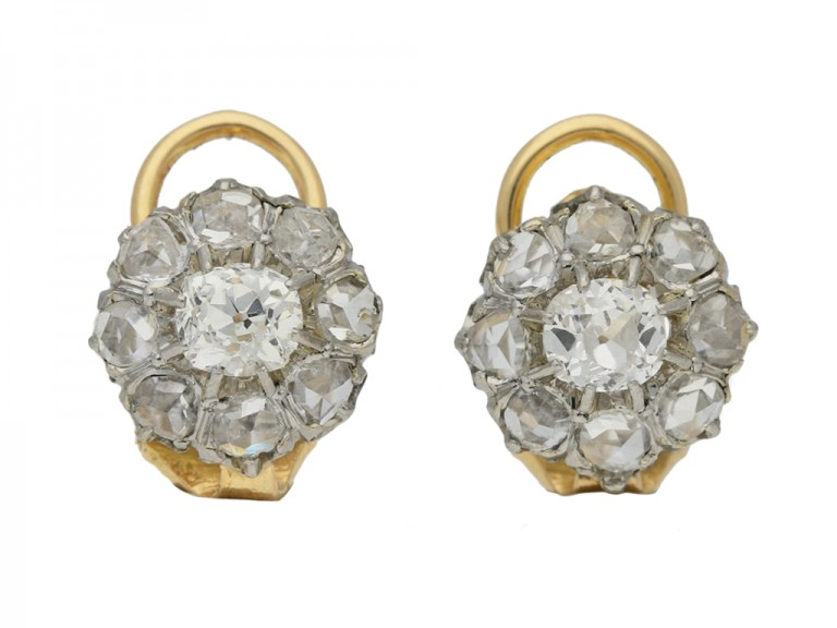 antique diamond cluster earrings hatton garden berganza