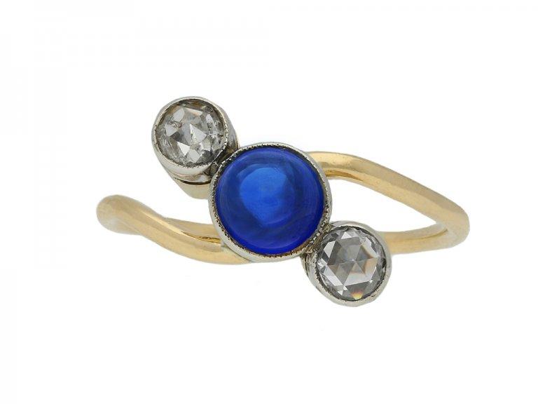 Art Nouveau sapphire diamond ring berganza hatton garden