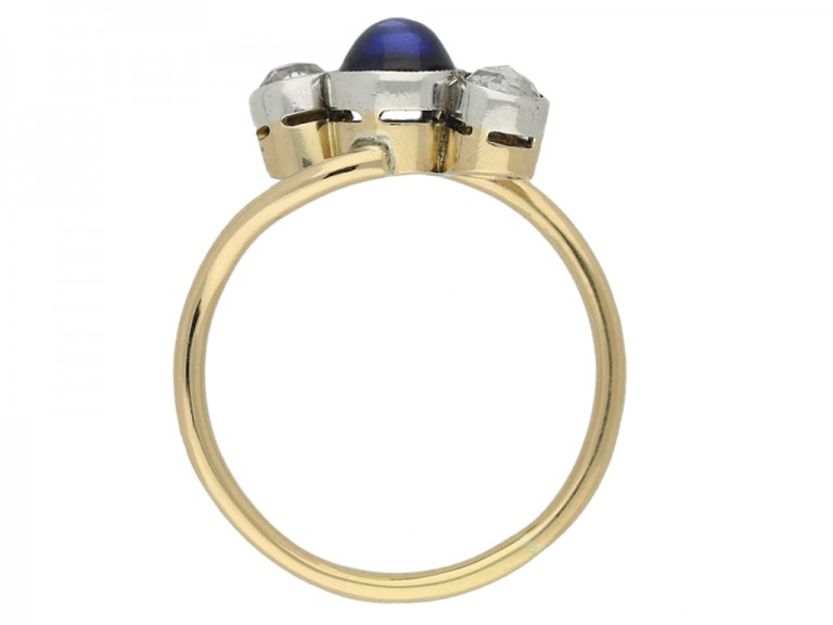 front Art Nouveau sapphire diamond ring berganza hatton garden