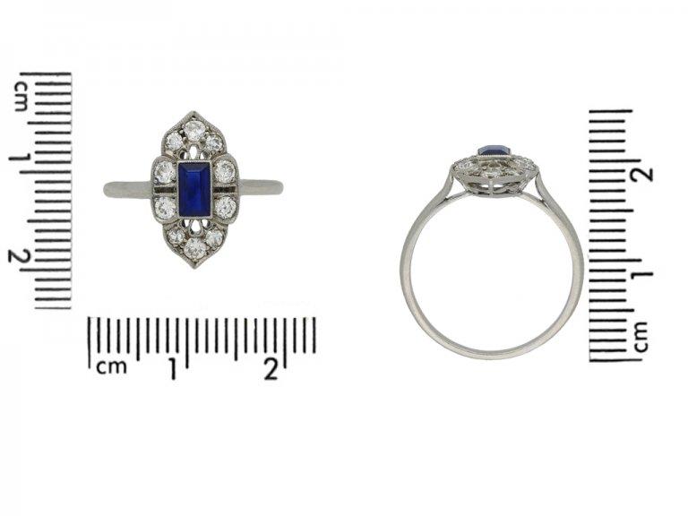 front antique diamond sapphire ring berganza hatton garden