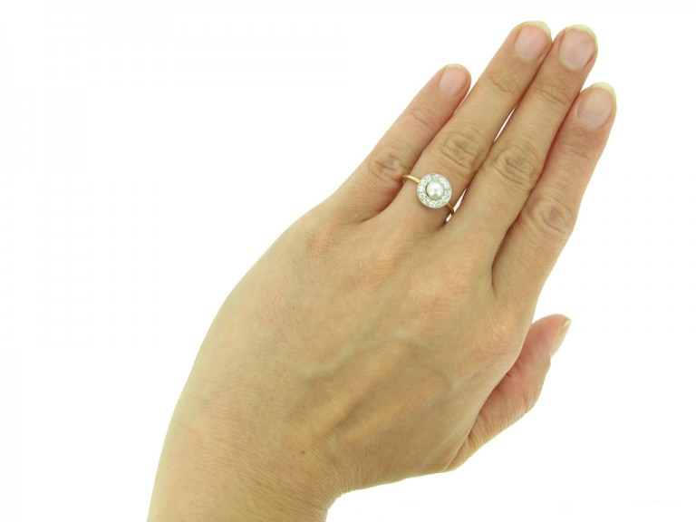 front antique diamond natural pearl ring berganza hatton garden