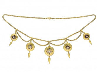 Antique pearl enamel gold necklace hatton garden berganza