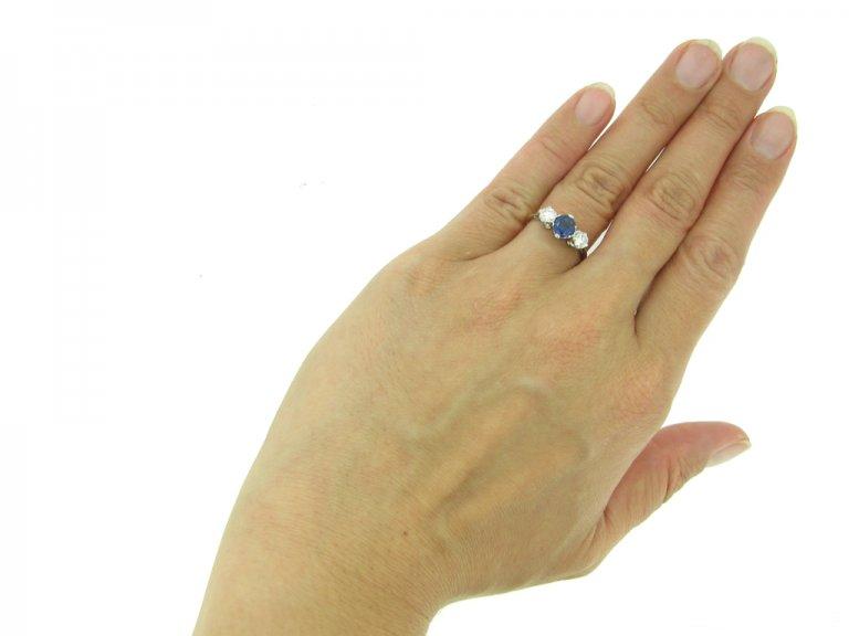 front vintage sapphire diamond ring hatton garden berganza