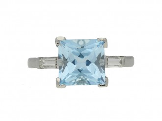 Art Deco aquamarine diamond ring berganza hatton garden