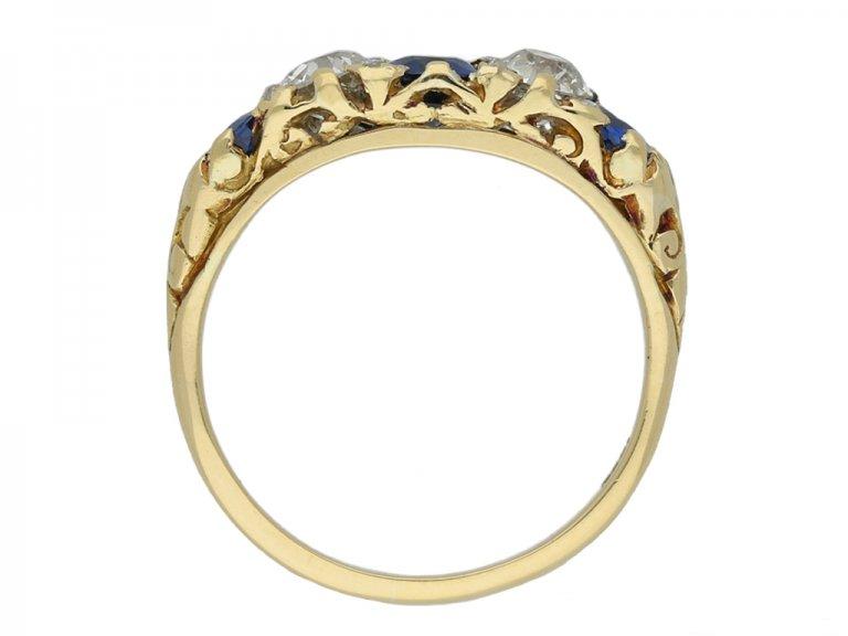front antique sapphire diamond carved ring berganza hatton garden
