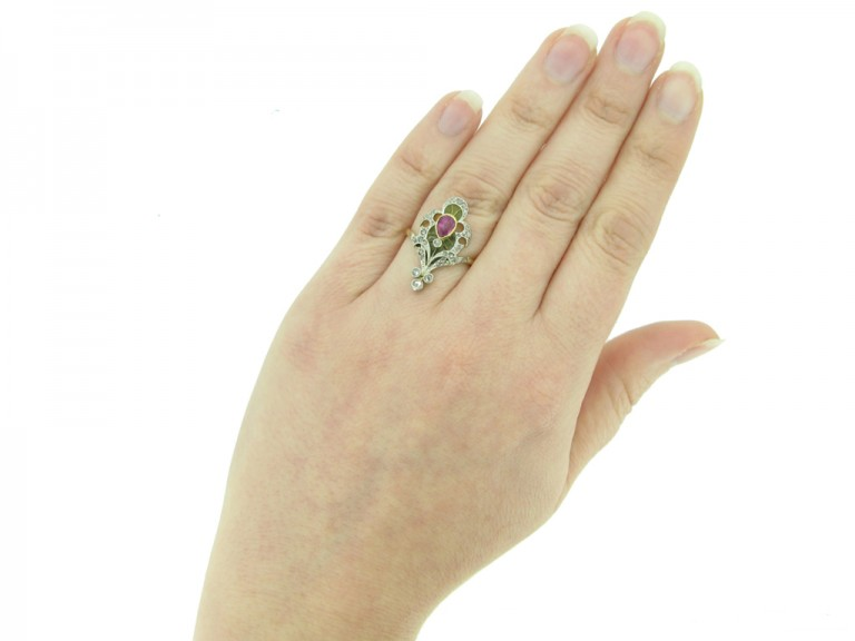 front Art Nouveau ruby diamond enamel ring berganza hatton garden