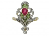 Art Nouveau ruby diamond enamel ring berganza hatton garden
