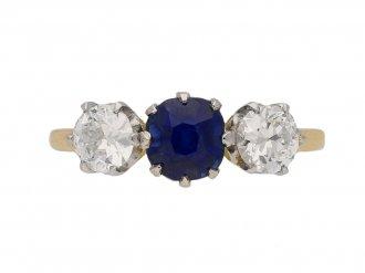 Antique sapphire diamond three stone ring berganza hatton garden