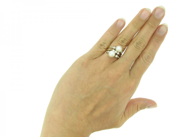 front antique natural pearl diamond ring berganza hatton garden