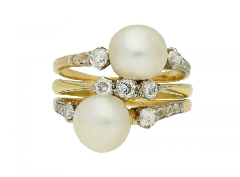antique natural pearl diamond ring berganza hatton garden