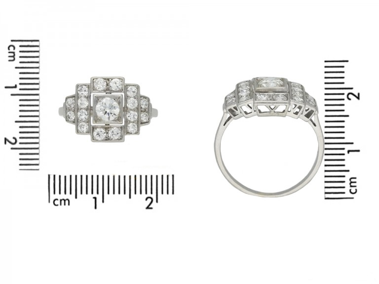 front art deco cluster diamond ring hatton garden berganza