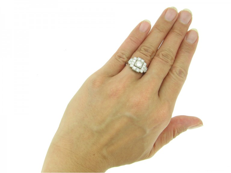 front art deco cluster diamond ring hatton garden berganza