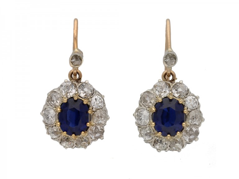 antique diamond sapphire earrings berganza hatton garden