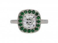 Diamond and demantoid garnet cluster ring berganza hatton garden