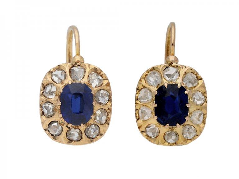 antique sapphire diamond earrings berganza hatton garden