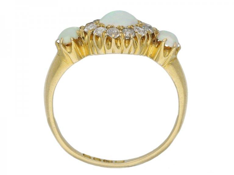 front antique opal diamond cluster ring hatton garden berganza