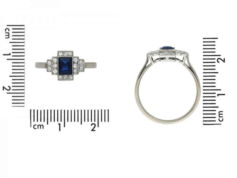 front art deco diamond sapphire ring berganza hatton garden