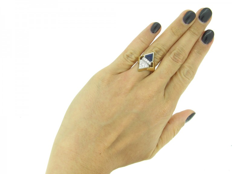 front art deco diamond sapphire ring hatton garden berganza