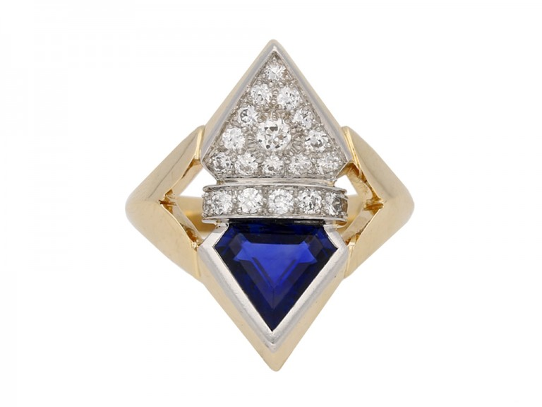 art deco diamond sapphire ring hatton garden berganza