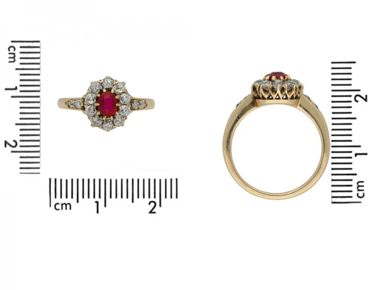 front antique ruby diamond cluster ring berganza hatton garden