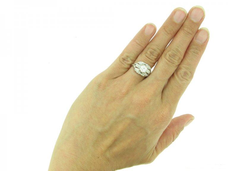 front Vintage diamond cluster ring berganza hatton garden